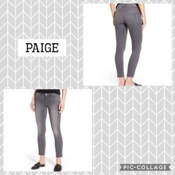 PAIGE Verdugo Crop Gray jeans; distressed jeans.